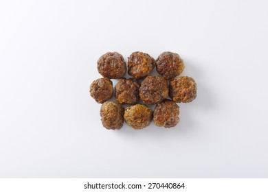 fresh hot meatballs on white background