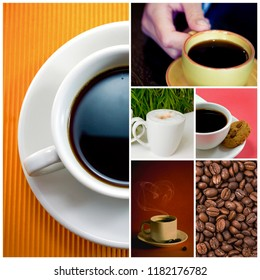 Fresh hot tasty coffee cup and background photo collage