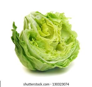 fresh iceberg salad isolated on white