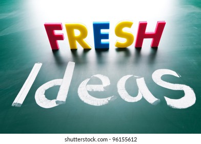 Fresh ideas, concept words on blackboard