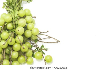 Fresh Indian Gooseberry Sour Bunch Put on White Background