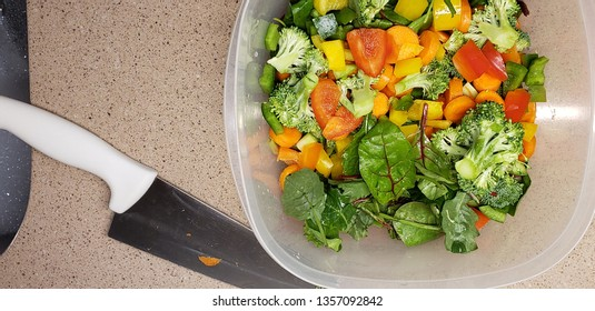 fresh ingredients salad vegetables knife