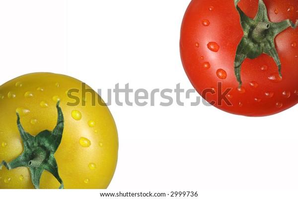 fresh isolated tomatoes on white background