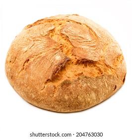 fresh italian bread on white background