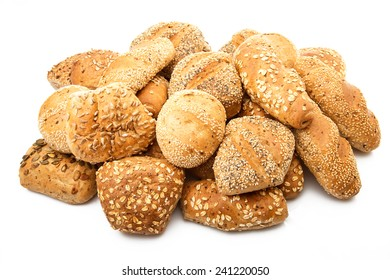 fresh and italian bread on white background