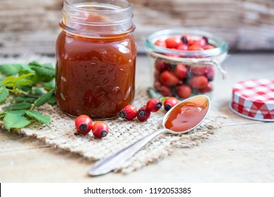 fresh jam from rose hip for breakfast