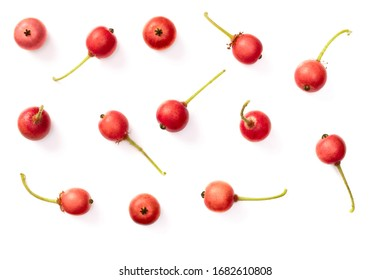 fresh Jamaica cherries isolated on the white background, top view