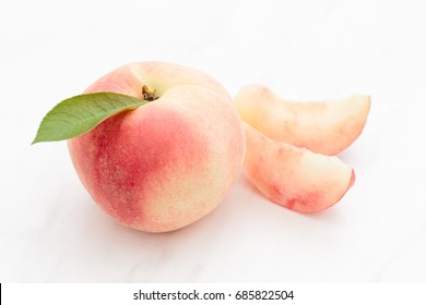 Fresh Japan White Peach on White Background