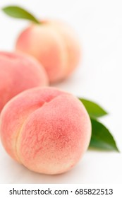 Fresh Japan White Peaches on White Background