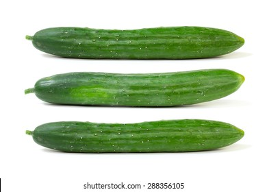 Fresh japanese cucumber isolated on white background