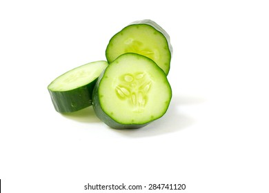 Fresh japanese cucumber sliced isolated on white background