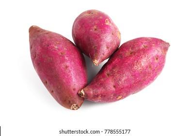 Fresh Japanese Sweet Potatoes on White Background
