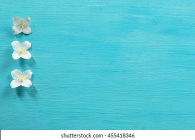 Fresh Jasmine Flowers On Wooden Background Images