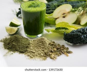 Fresh Juice Smoothie Made with Organic Greens, Spirulina, Protein Powders