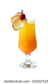 fresh juices served in a tall glass with ice and slices of apple for a garnish isolate don a white background