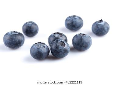 Fresh juicy blueberries isolated on white background