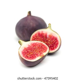 fresh juicy figs on white background