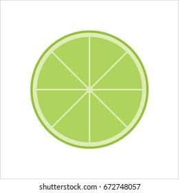 Fresh Juicy Lime Slice Icon Isolated