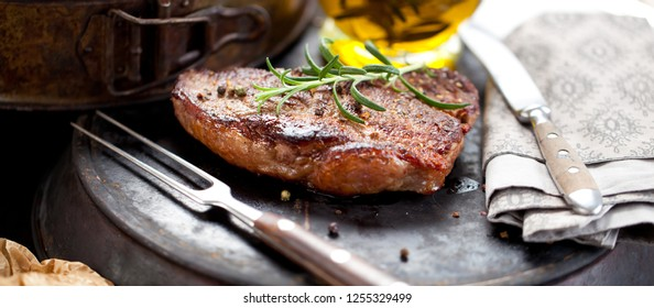 Fresh Juicy Medium Rare Beef Grillsteak. Barbecue Meat Close Up
