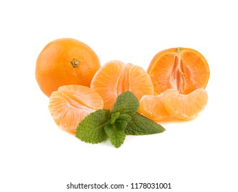 Fresh juicy oranges with mint leaves. White background