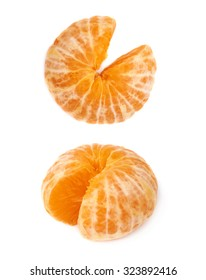 Fresh juicy peeled cleaned tangerine ripe fruit isolated over the white background