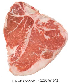 Fresh and juicy raw T-Bone Steak on white background.