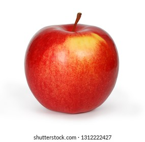 Fresh juicy red apple isolated on white background. Clipping path. Side view.
