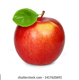 Fresh juicy red apple with leaf isolated on white background. Clipping path. Side view. Macro, closeup. Full depth of field.
