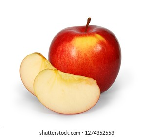 Fresh juicy red apple with two lobules isolated on white background. Clipping path.