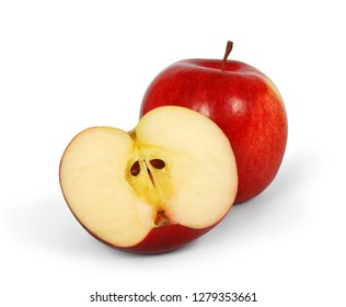 Fresh juicy red apple whole and half isolated on white background. Clipping path.