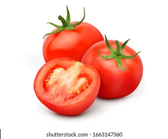 Fresh juicy red Tomato with cut in half  isolated on white background. - Shutterstock ID 1663147360