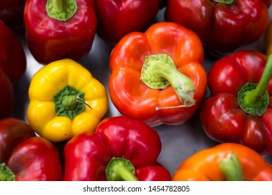 Fresh juicy red and yellow peppers