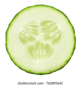 fresh juicy slice cucumber on white background, isolated, clipping path