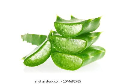 Fresh juicy sliced green leaves of Aloe, isolated on white background.