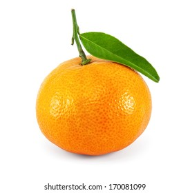 Fresh juicy tangerine on white  background