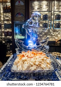 Fresh, juicy and tasty poached Alaskan king crab or Taraba crab chopped in their shell on ice bed. Sweet and flavorful. Contain cholesterol, but low in saturated fat and also have omega-3 fatty acid.