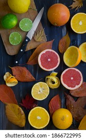 Fresh and juicy vitamin c fruits isolated on board.
