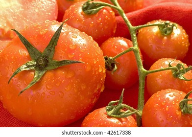 Fresh and juicy wet tomatoes