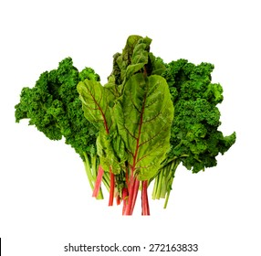 Fresh Kale and Swiss Chard on a white background
