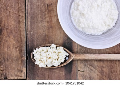 Fresh Kefir grains and whey. Kefir is one of the top health foods available providing powerful probiotics.  It is cultures of yeast and bacteria use to make a fermented milk product.