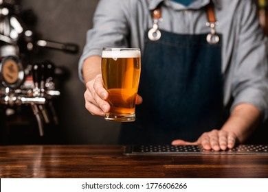 Fresh keg beer. Bartender in apron holds out a glass of light ale in interior of bar, cropped