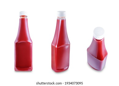 Fresh Ketchup sauce bottle on a white isolated background. toning. selective focus