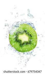 fresh kiwi falling in water