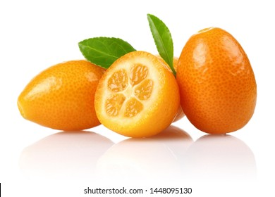 Fresh kumquats and leaf isolated on white background