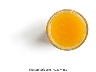 Fresh l Orange Juice on white background top view, with clipping path