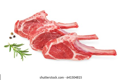 Fresh lamb cutlet  with  rosemary and pepper isolated on white background