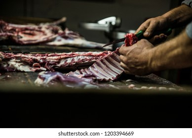 Fresh lamb meat sliced by butcher