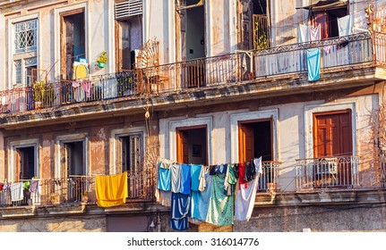 Fresh laundry on the balcony of old home, Havana, Cuba