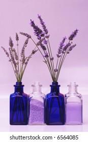 Fresh lavender at bud & flowering stages, bath salts & bath foam or lotion