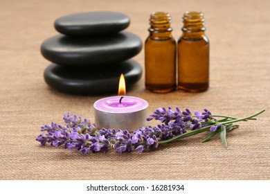 fresh lavender flowers and bottle of oil
